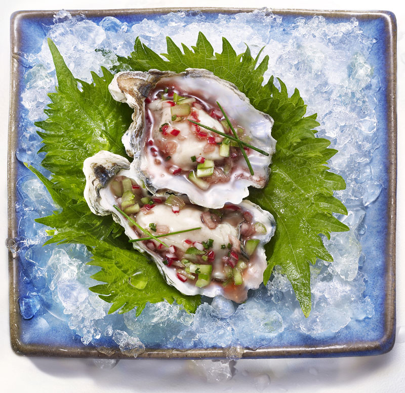 Kumamoto Oysters with Mignonette Sauce on Shiso Leaf