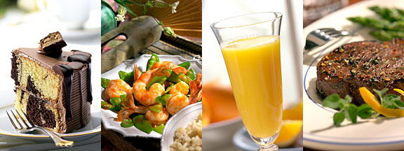 food picture - cake, shrimp, orange juice, steak