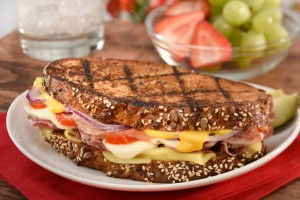 grilled ham and cheese food photo