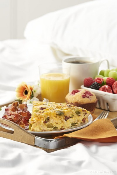 food photography of breakfast in bed