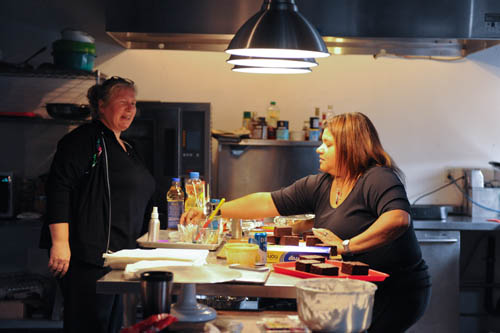 Ana and her food stylist assistant Cheryl hard at work in the studio kitchen.