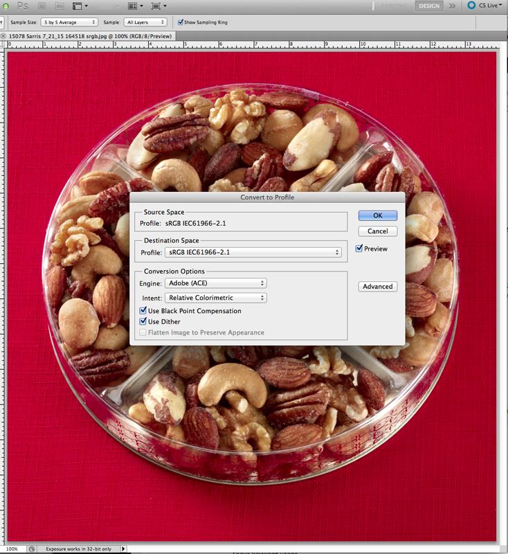Food Photography in RGB vs SRGB