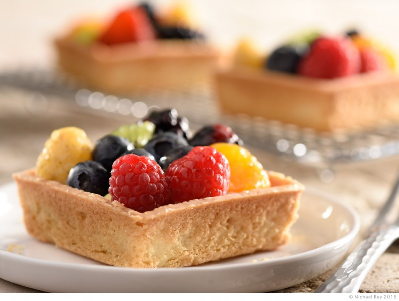 food photography of mixed fruit tart
