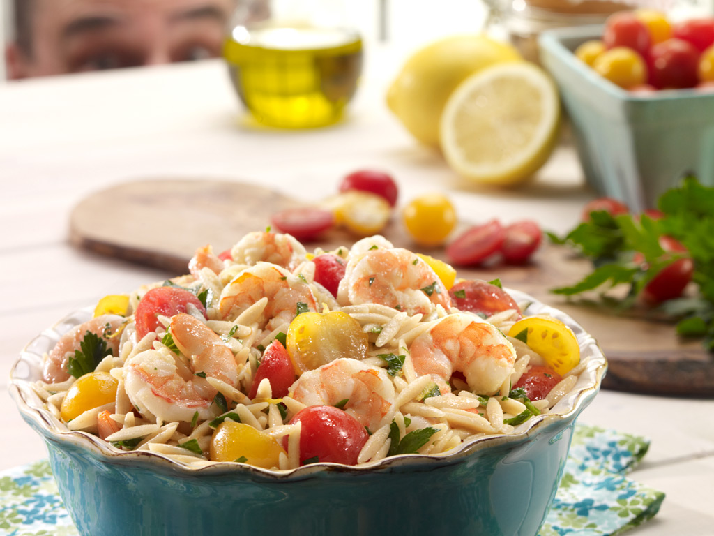 Food Photo of shrimp and orzo salad