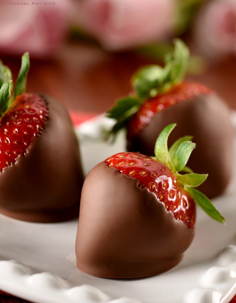 Beautiful food photo of strawberry, dipped in chocolate.